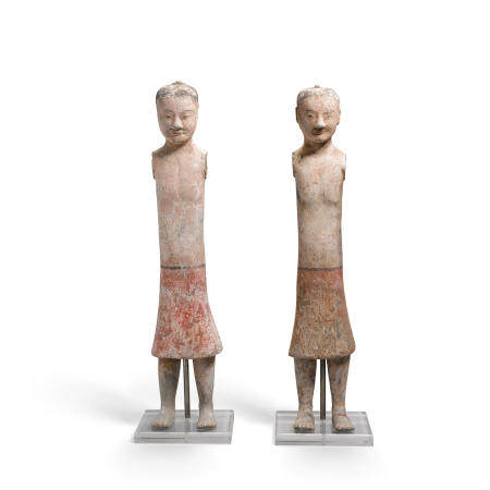 A PAIR OF PAINTED POTTERY  FIGURES OF ATTENDANTS  Han Dynasty   (2)
