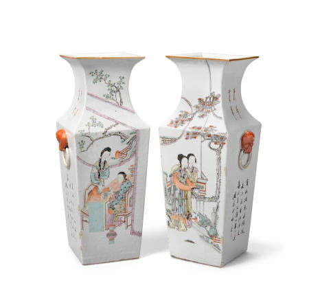 A pair of Square polychrome enameled vases  Late QingRepublic period (2)