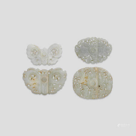 Four two-section jade belt buckles (4)