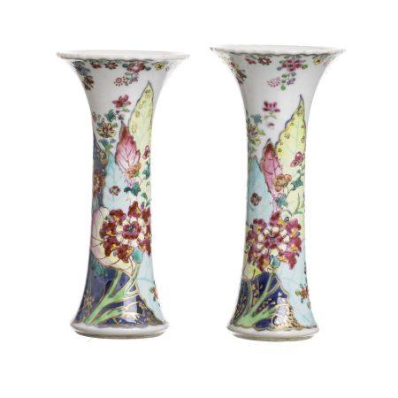 Pair of Chinese porcelain 'Tobacco leaf' vases, Qianlong