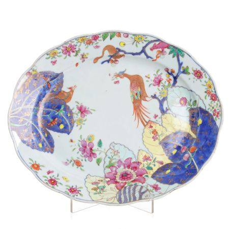Chinese Porcelain Tobacco Leaf Platter, Qianlong