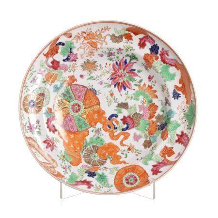 'Tea leaf' deep plate, in Chinese porcelain, Qianlong