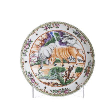 Chinese European subject 'bull' saucer, Qianlong