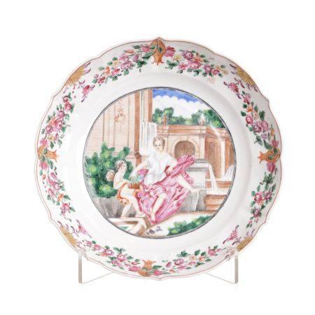 European Subject Chinese Porcelain Plate, Qianlong