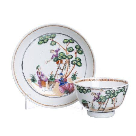 Chinese porcelain 'Cherry picking' teacup & saucer, Qianlong