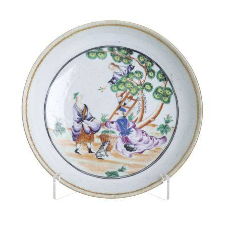Chinese porcelain 'Cherry picking' plate, Qianlong