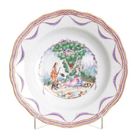 Chinese porcelain European Subject 'lady and hunter' plate, Qianlong