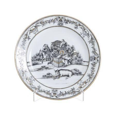 Euroean Subject 'Nativity' plate in Chinese porcelain, Qianlong