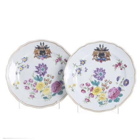 Pair Armorial Chinese Porcelain Plates, Qianlong