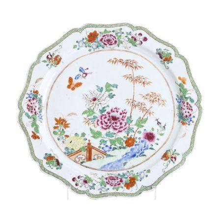 Large Famille Rose Peony Charger, Qianlong