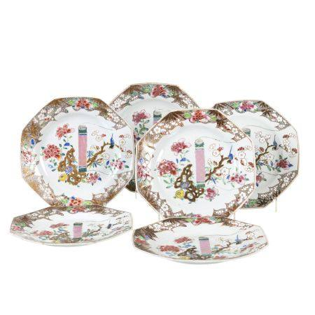 Six octagonal Chinese porcelain scroll plates, Yonghzeng
