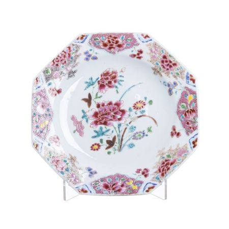 Chinese porcelain famille rose eight sided plate, Yonghzeng