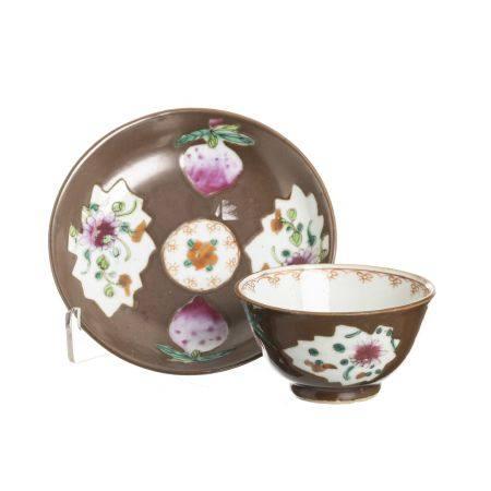 Chinese porcelain 'chocolate' teacup & saucer, Yongzheng
