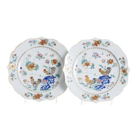 Pair of large Chinese porcelain 'Rooster' plates, Qianlong