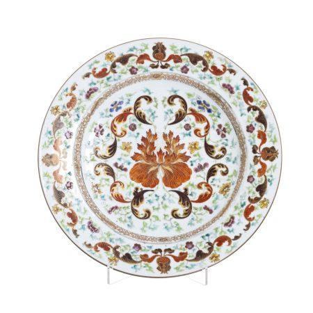 Large Chinese porcelain peony plate, Qianlong