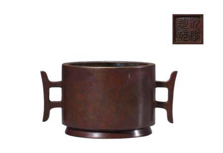 Bronze Double Lion Ear Censer