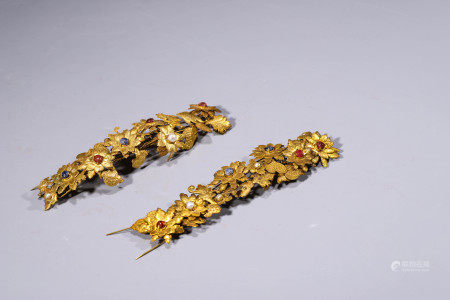 A Pair of Gilt-Silver Ornaments