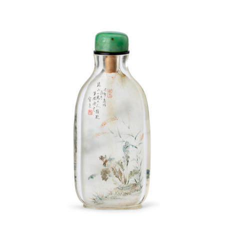A RARE EARLY INSIDE-PAINTED GLASS SNUFF BOTTLE   Zhou Leyuan  Signed and dated renwu year, corresponding to 1882