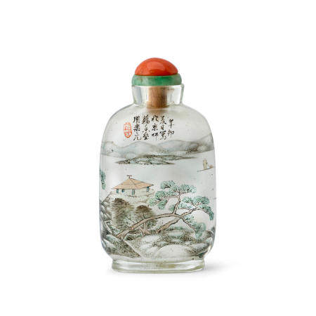 AN INSIDE-PAINTED GLASS SNUFF BOTTLE Zhou Leyuan Signed and dated xinmao year, corresponding to 1891