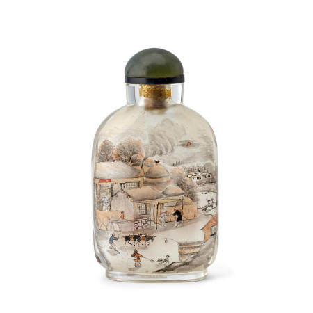 A RARE INSIDE-PAINTED 'CAMELS' GLASS SNUFF BOTTLE Zhang Baotian Signed and dated Jihai year, corresponding to 1899, Beijing
