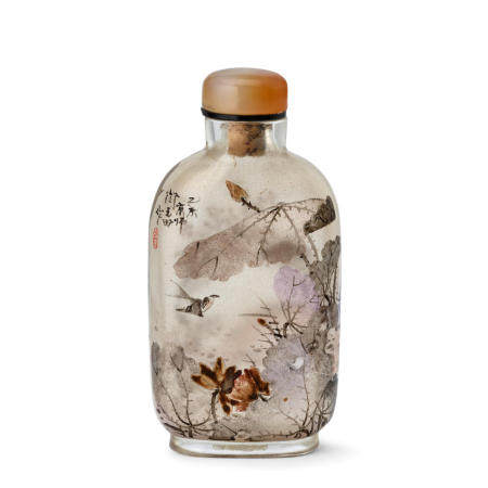 AN INSIDE-PAINTED GLASS SNUFF BOTTLE  Yan Yutian Signed and dated yiwei year, corresponding to 1895