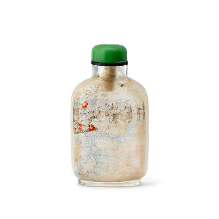AN EXTREMELY RARE INSIDE-PAINTED GLASS SNUFF BOTTLE  Ma Shaoxuan Signed, 1895-1920