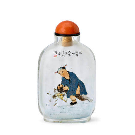 A RARE INSIDE-PAINTED GLASS SNUFF BOTTLE  Ma Shaoxuan Signed and dated gengzi year, corresponding to 1900