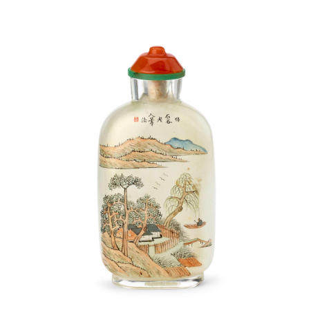 AN INSIDE-PAINTED GLASS SNUFF BOTTLE  Ma ShaoxuanDated guimao year, corresponding to 1903