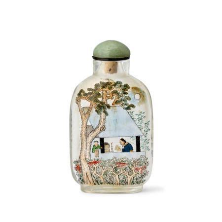 AN INSIDE-PAINTED GLASS SNUFF BOTTLE  Attributed to Ma Shaoxuan Signed and dated wushen year, corresponding to 1908