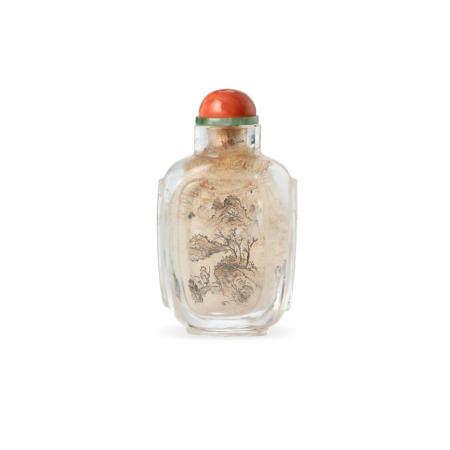 An Early inside-painted rock crystal snuff bottle Gan Xuanwen, Lingnan School, 1810-1825