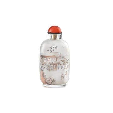 An Inside-painted glass snuff bottle  Tang Zichuan, 1892