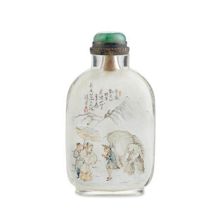 An inside-painted 'mixed-script' and 'elephant-subject' glass snuff bottle Sun Xingwu, 1899