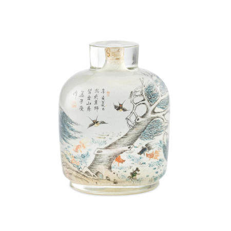An inside-painted glass snuff bottle  Meng Zishou, 1911