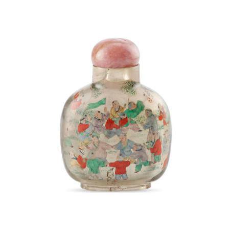 An inside-painted 'one-hundred boys' clear rock crystal snuff bottle Ye Zhongsan, 1926