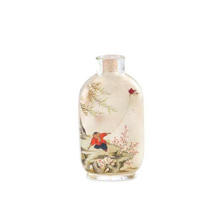 An Inside-painted glass snuff bottle  Ye Xiaofeng (Bengxi) b. 1900 - d.1974