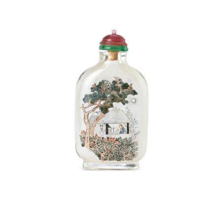 An inside-painted 'night-scene' glass bottle Ma Shaoxuan, 1897
