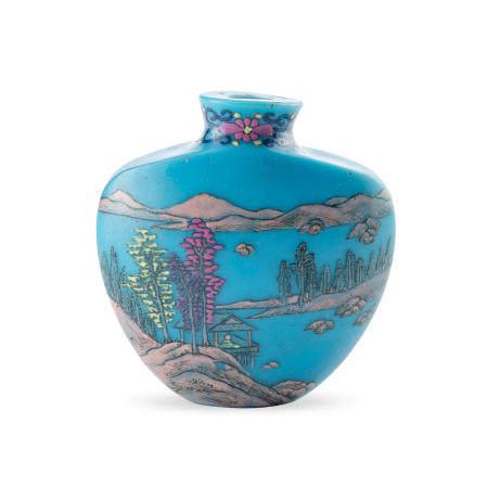 A Guyuexuan-type enameled turquoise glass snuff bottle Qianlong mark, probably Yangzhou, 1780-1830