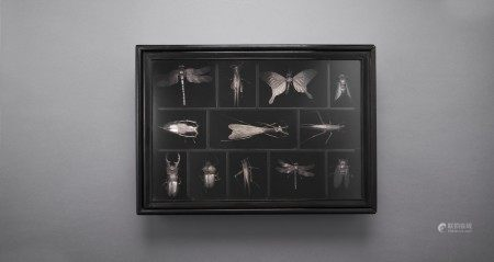 A SET OF TWELVE SILVER ARTICULATED SCULPTURES OF INSECTS MEIJI-TAISHO PERIOD (EARLY 20TH CENTURY), EACH SIGNED KOZAN (TAKASE KOZAN; 1869-1934)
