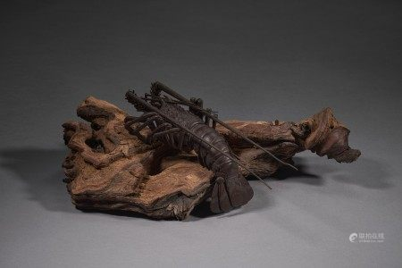 AN IRON ARTICULATED SCULPTURE OF A LOBSTER EDO PERIOD (18TH-19TH CENTURY), SIGNED MYO AND SHIGE