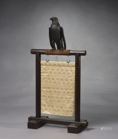 AN IRON ARTICULATED SCULPTURE OF AN EAGLE ON STAND MEIJI PERIOD (LATE 19TH CENTURY), ATTRIBUTED TO ITAO SHINJIRO (1842-1911)