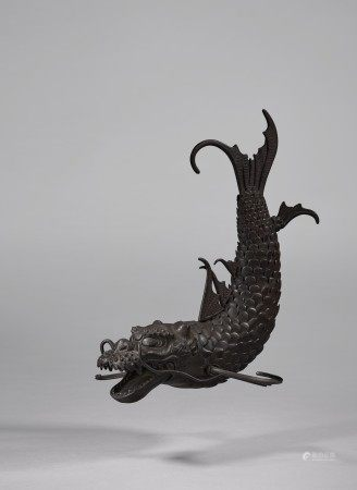 AN IRON ARTICULATED SCULPTURE OF A MYTHICAL BEAST ( SHACHI ) EDO PERIOD (18TH-19TH CENTURY), SIGNED MUNENOBU (MYOCHIN MUNENOBU)
