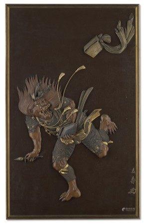 AN IRON PANEL OF BUNSHOSEI (THE STAR DEMON) MEIJI PERIOD (LATE 19TH CENTURY), SIGNED TOMOTOSHI WITH CURSIVE MONOGRAM ( KAO ) (HIRANO UNOKICHI; 1831-1889)