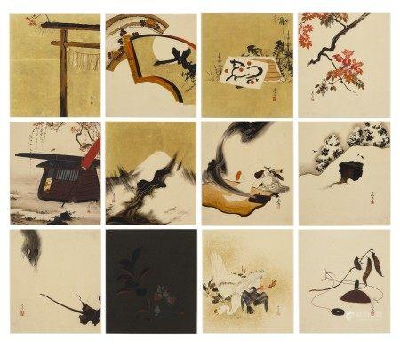 SHIBATA ZESHIN (1807-1891) Landscapes, plants and animals of four seasons