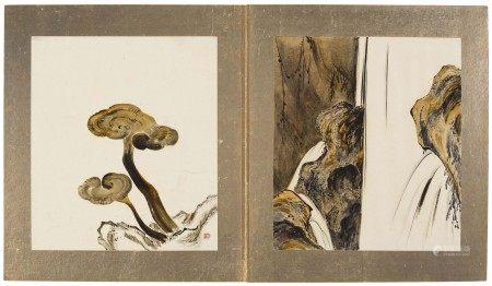 IKEDA TAISHIN (1825-1903) Album of fourteen lacuqer paintings
