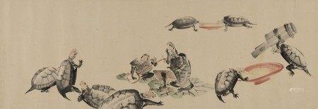 SHIBATA ZESHIN (1807-1891) Anthropomorphic Turtles Playing