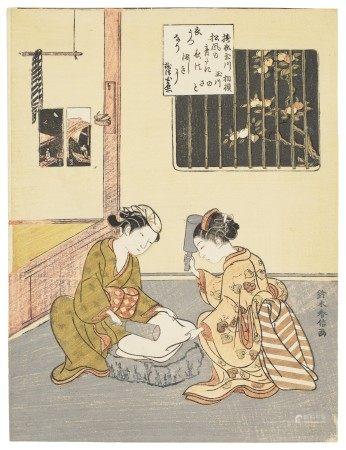 SUZUKI HARUNOBU (1725-1770) Toi no Tamagawa (Pounding cloth at Jewel River)