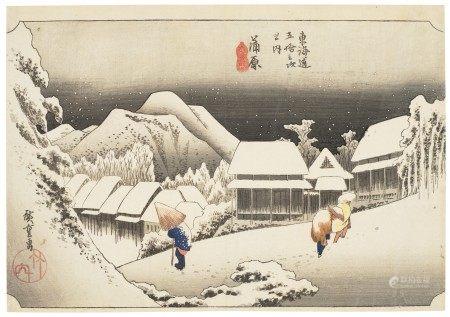 UTAGAWA HIROSHIGE (1797-1858) Kanbara yoru no yuki (Evening snow at Kanbara)