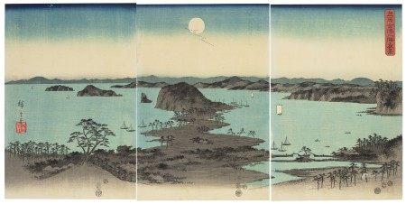 UTAGAWA HIROSHIGE (1797-1858) Buyo Kanazawa hassho yakei (Eight night views of Kanazawa, Musashi Province)