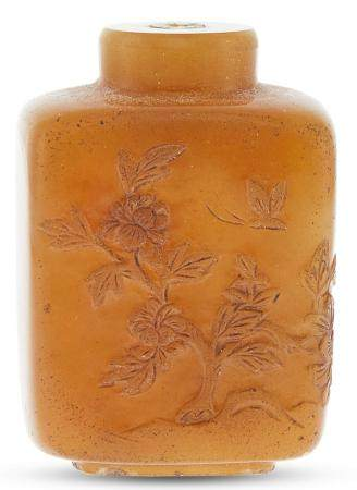 A Chinese Carved Shoushan Stone Snuff Bottle