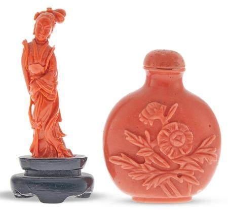 A Chinese Coral Carving and Faux Coral Snuff Bottle